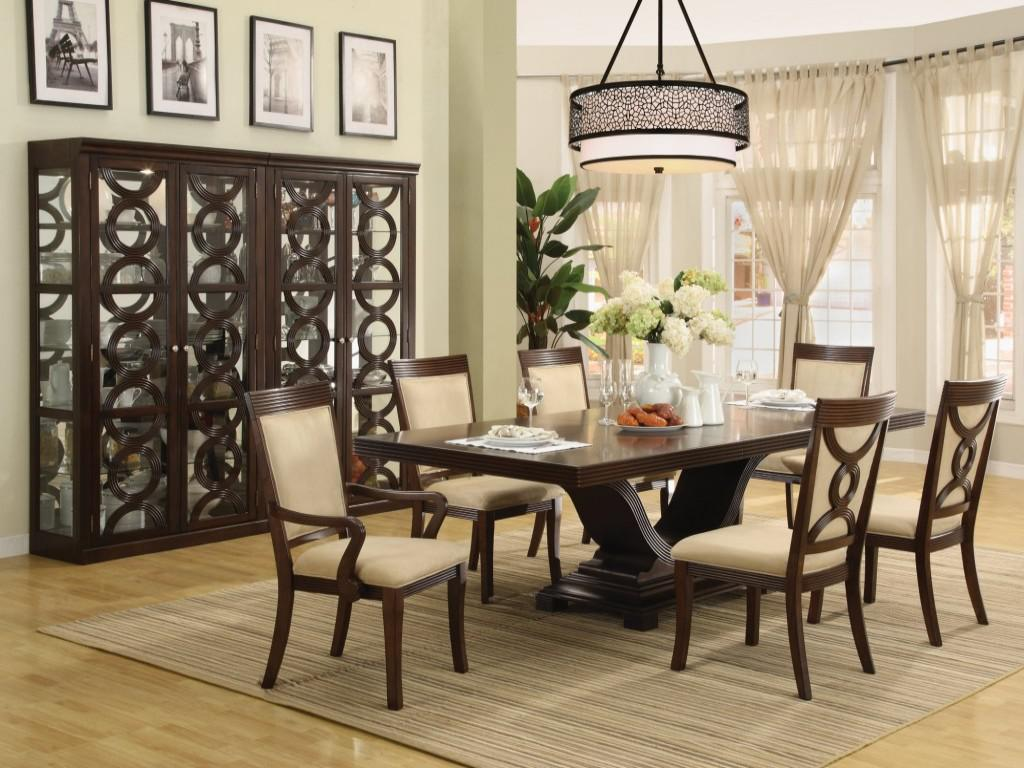 Charming Stunning Cabinet In Open Dining Area With Wooden Dining Table Centerpieces  And Formal Chairs