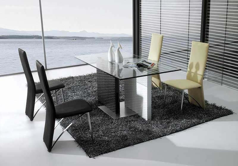 Stunning Chairs and Stylish Glass Top Dining Table on Dark Carpet Rug near Wide Glass Wall