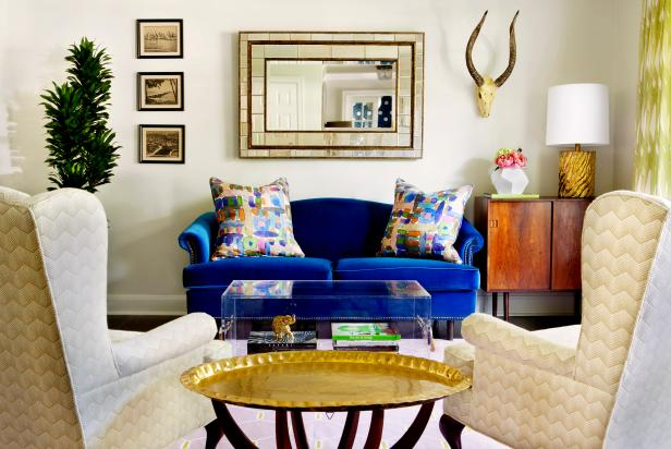 Stunning Furniture With Blue Sofa also Arm Chair and Table