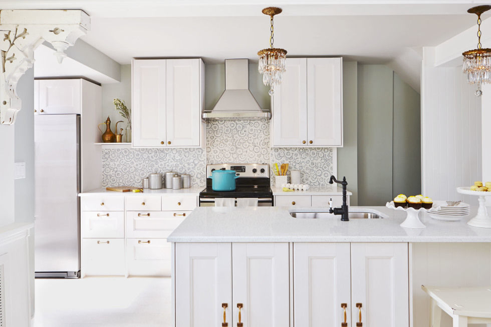 Stunning Lamps above White Counter for Enchanting Kitchen Decor Ideas with Unique Tile Backsplash