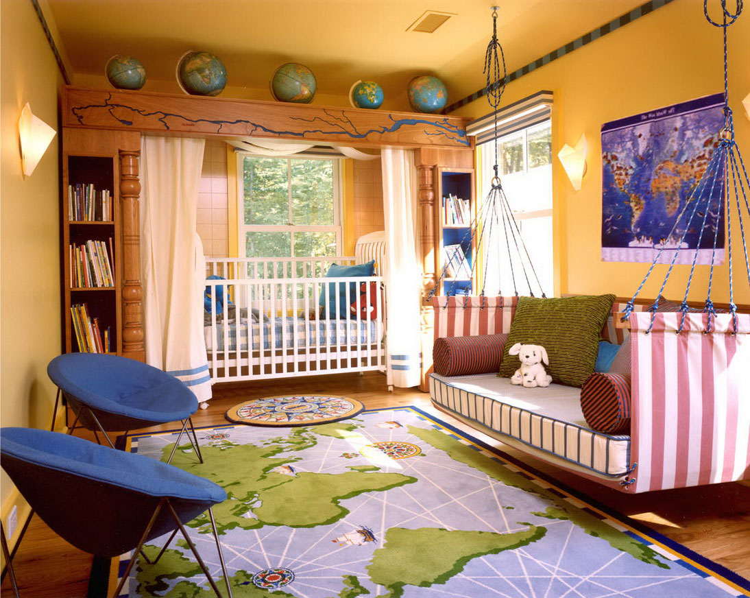 Stunning Nursery using World Map Themed and Unusual Teen Bedroom Furniture with Hanging Kids Bed