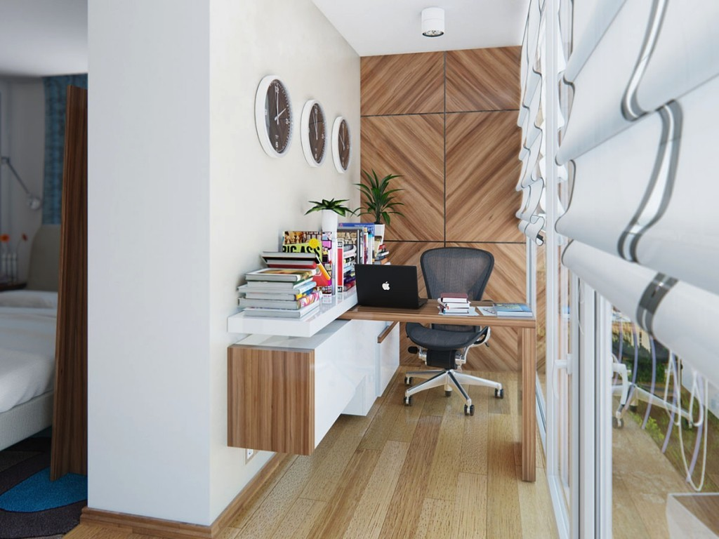 Stunning Small Oak Office Desk and Black Swivel Chair near White Teak Wall on Oak Flooring