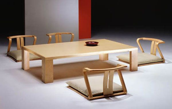 Stylish Design of Rectangular Japanese Dining Table and Unique Chairs