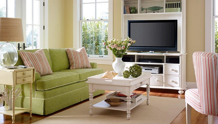 Stylish Interior Green Living Room Concept Using Comfortable Sofa Decor
