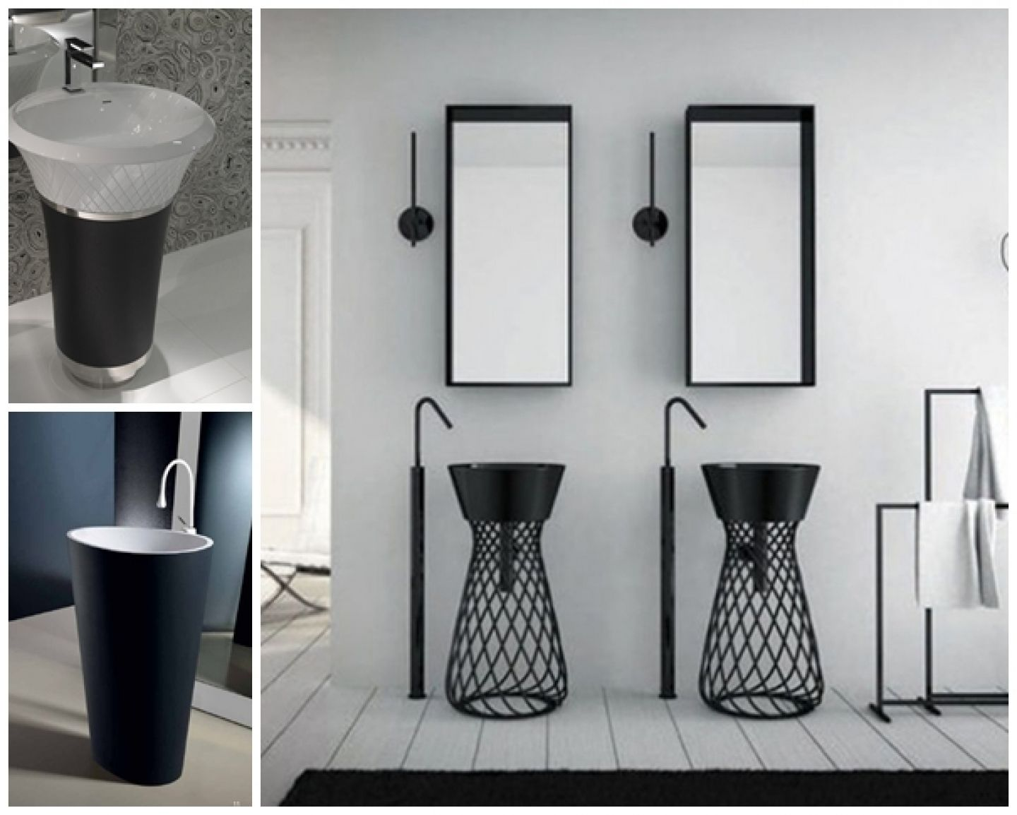 Stylish Pedestal Sink Storage Inside Unusual Bathroom With Black Framed  Wall Mirror And Black Faucet