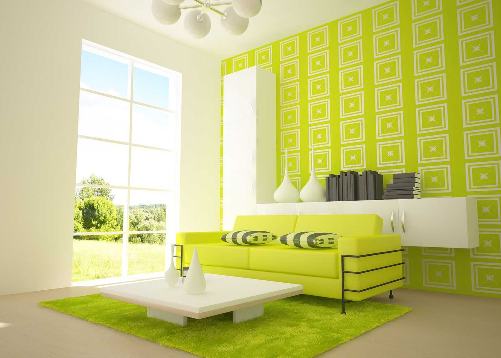 Sumptuous Sofa and Background Style For Perfect Green Living Room