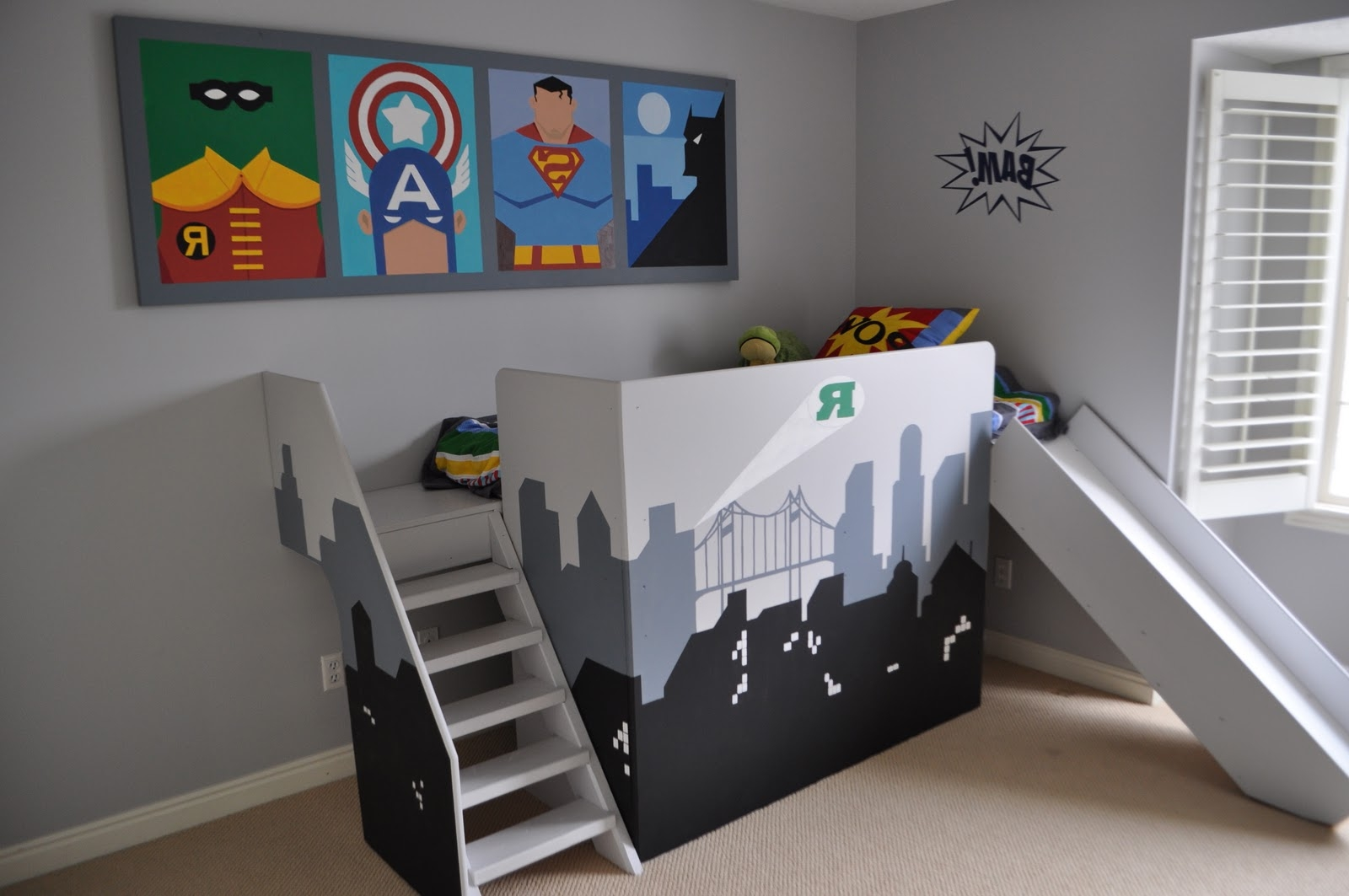 Superhero Themed Bedroom with Unusual Boys Bunk Beds and Appealing Wall Art on Grey Painted Wall