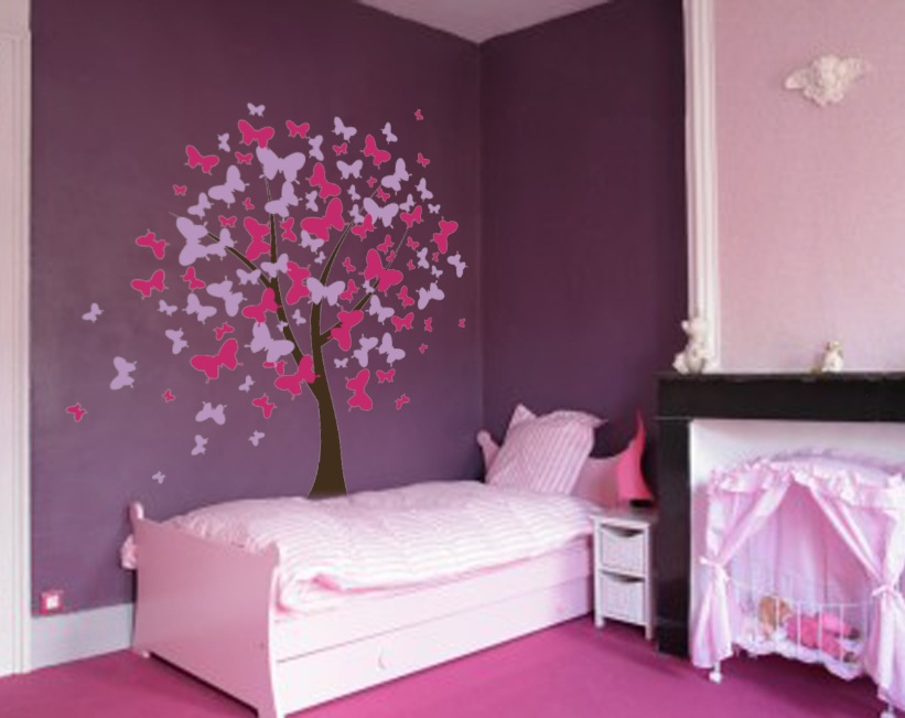 The Best Girls Room Decor For Bedroom With White Bed And Beautiful Tree  Wall Mural