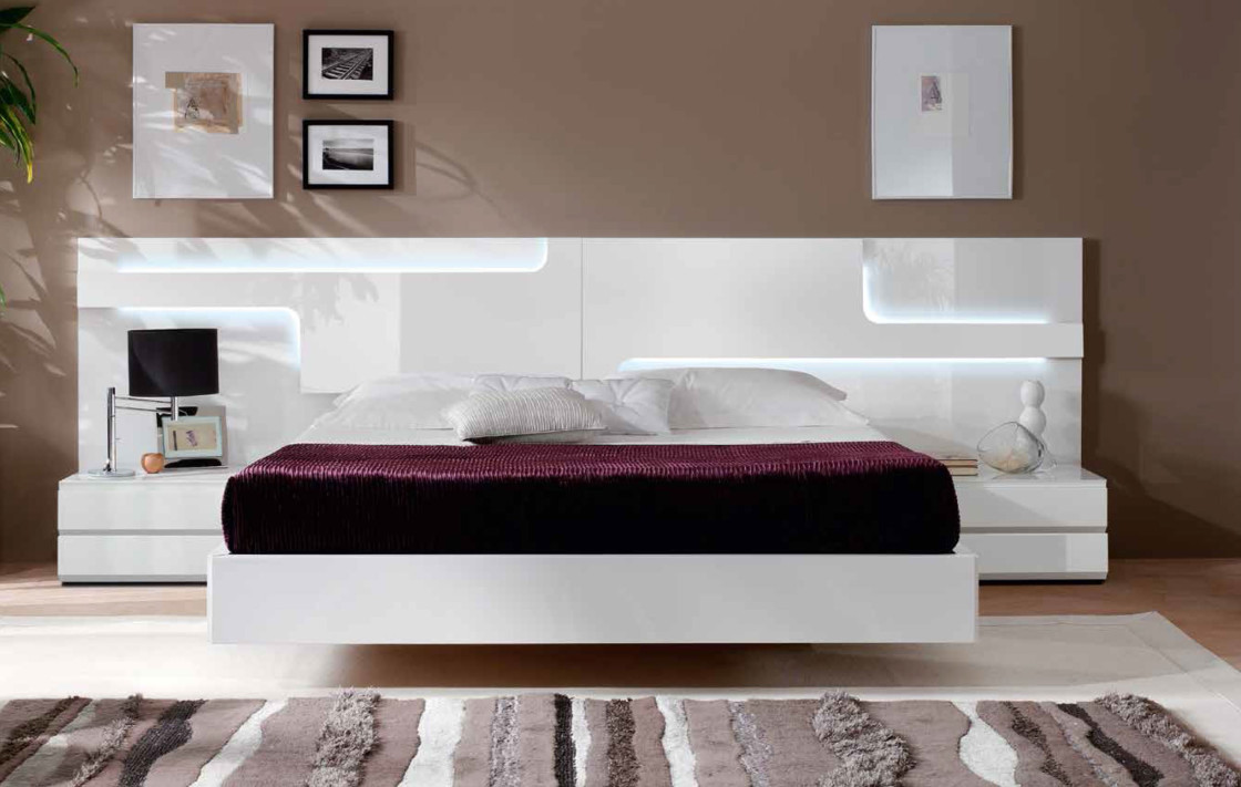 The Gorgeous Bedroom Completed with White Floating Bed Frame and Nightstands beside LED Lighted Headboard