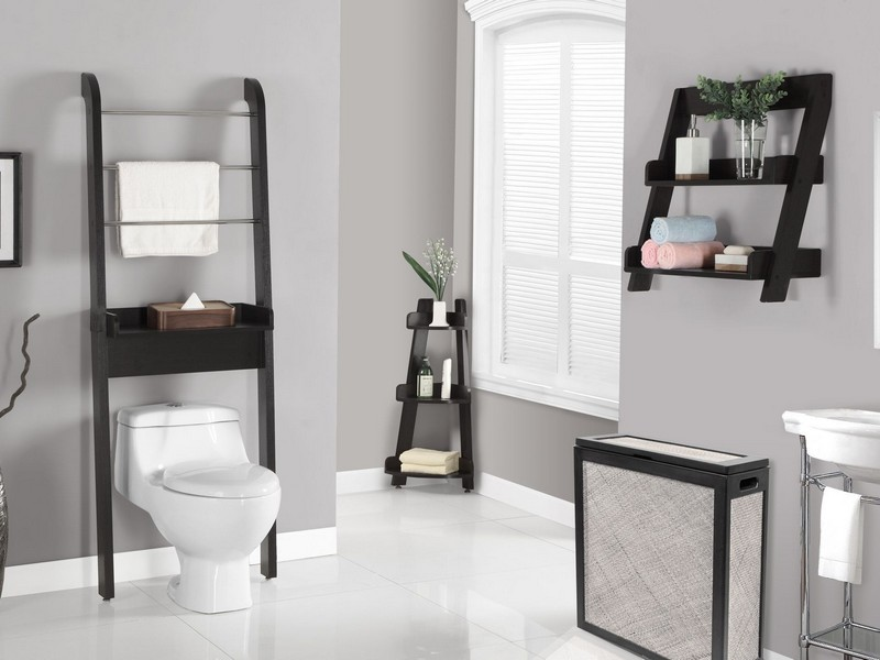 The Sensational Bathroom Space Saver Design With Floating Shelves And White  Sink Near Grey Wall