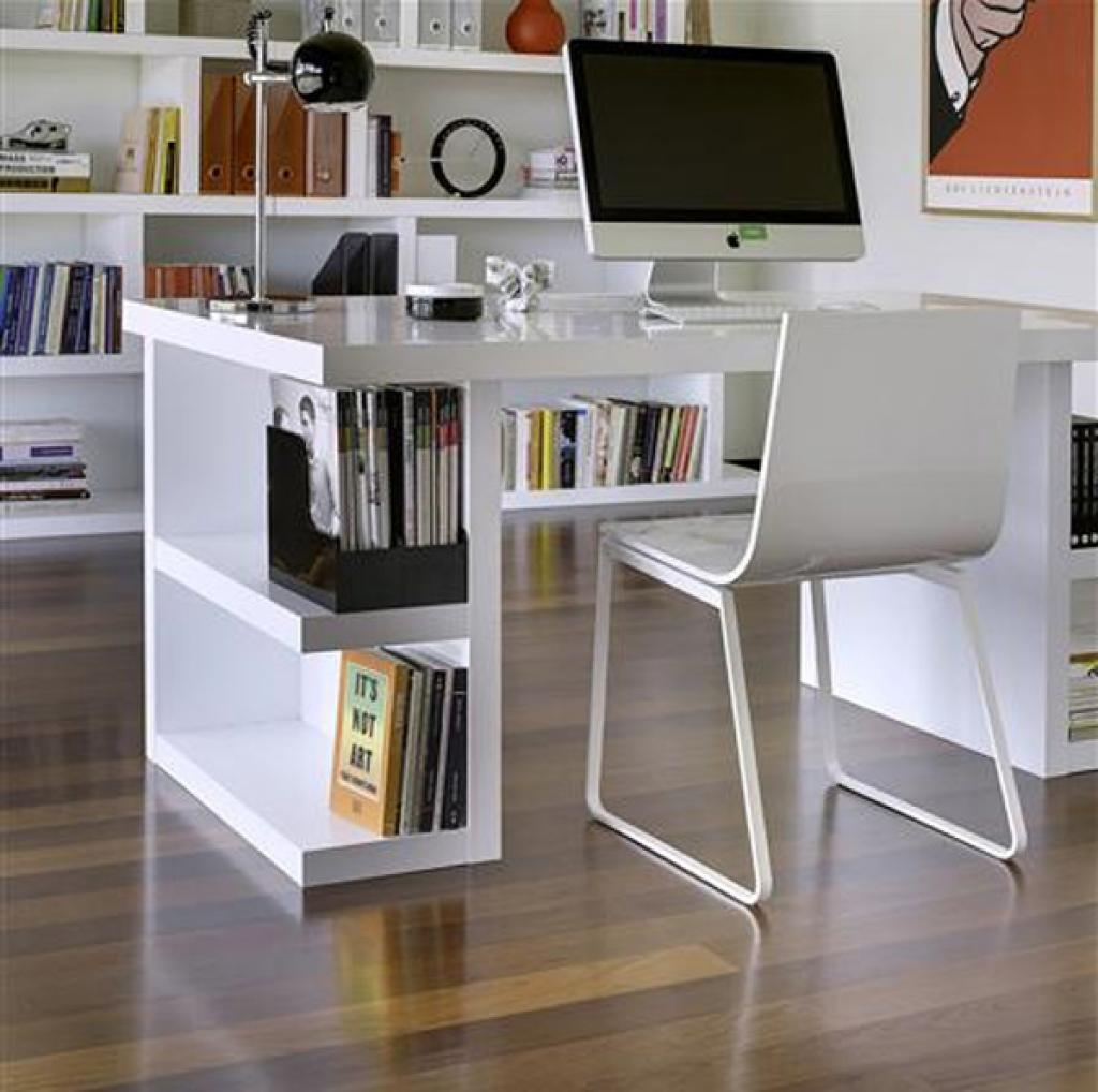 Tidy Bookshelves In White Small Office Desk Placed In Stylish Home Office  With White Chair