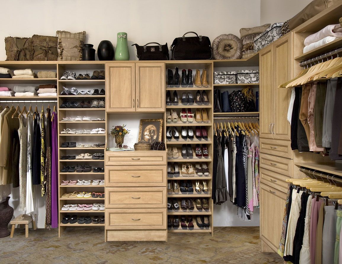 Tidy Closet Design Ideas with Cream Drawers and Wooden Shoes Shelves near Simple Clothes Hangers