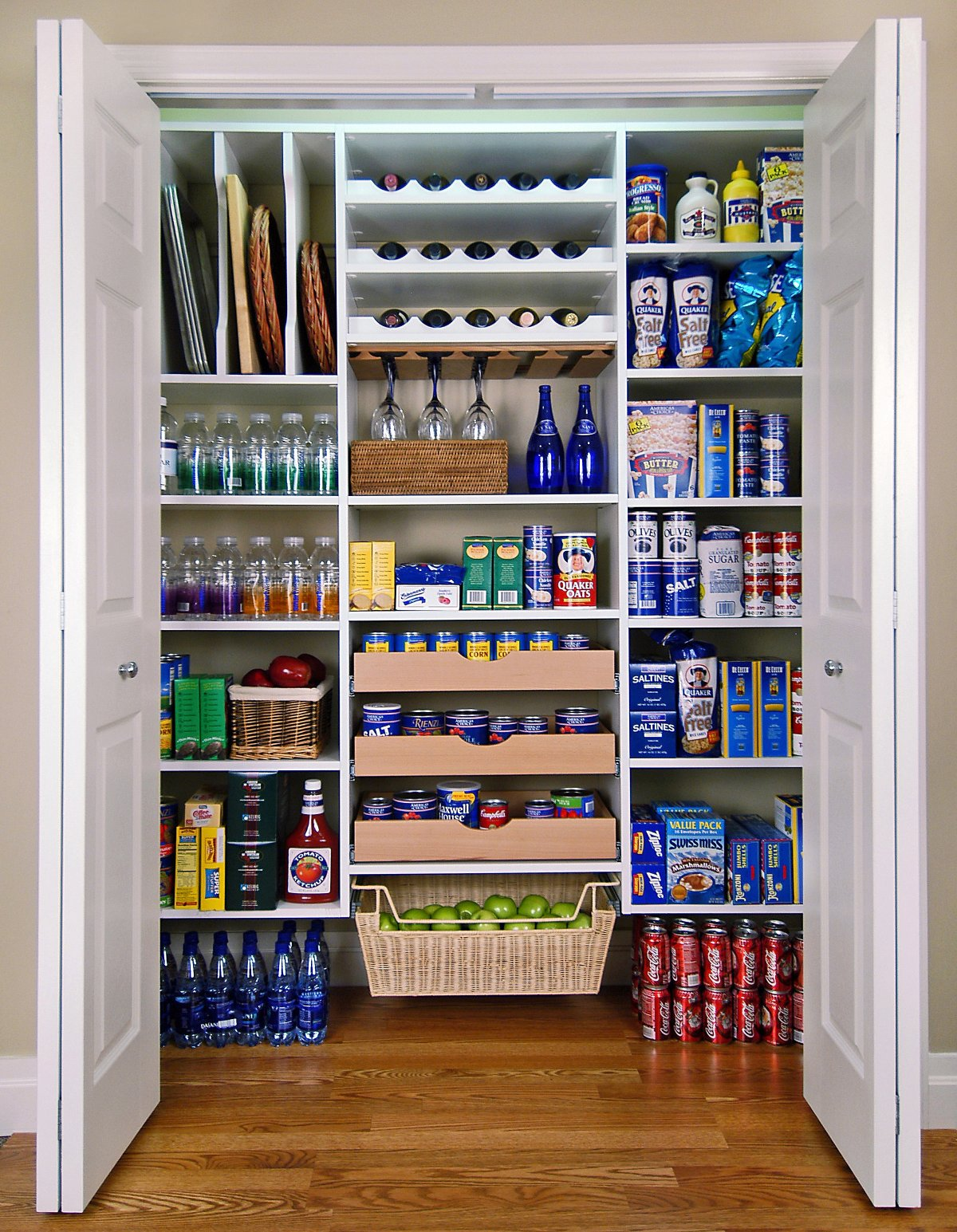 Tidy Closet Storage Ideas for Kitchen Supply with White Shelves and Simple Wine Racks above Oak Flooring