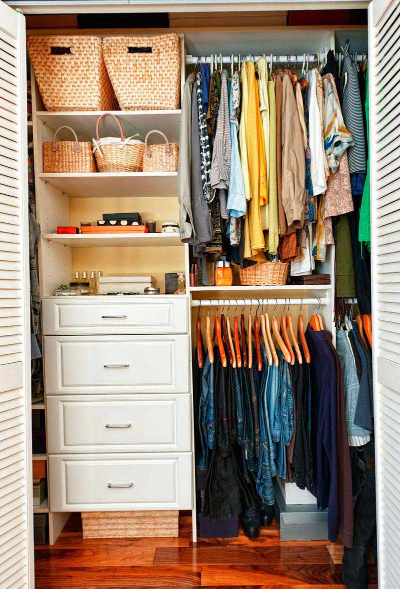 Tidy Small Closet Ideas with White Drawers and Shelves Completing Simple Room with Laminate Flooring