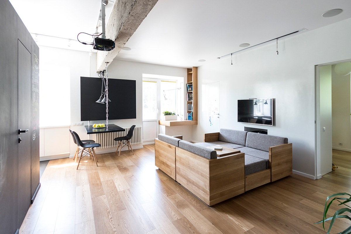 tiny apartment using minimalist furniture for small spaces with wooden