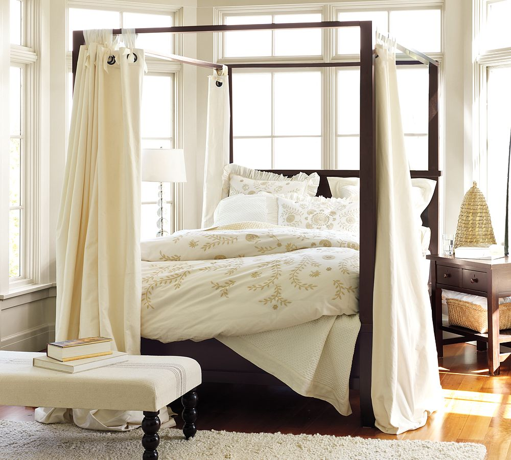 Traditional Bedroom Completed with Wooden DIY Canopy Bed and White Bedding beside Oak Nightstand and Bench & DIY Canopy Bed from PVC Pipes - MidCityEast