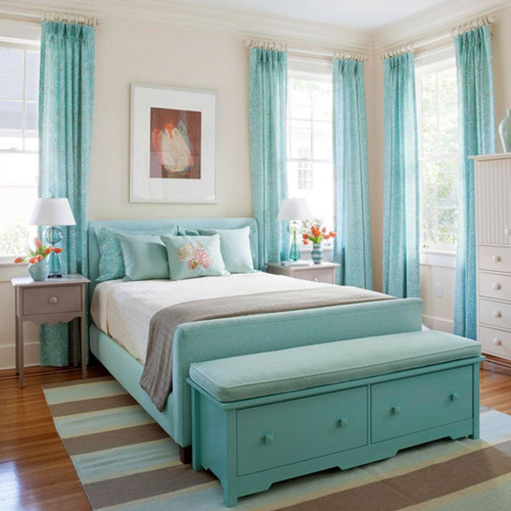 Traditional Teenage Girl Room Ideas with Blue Bed and Old Fashioned Bench beside White Cabinet on Oak Flooring