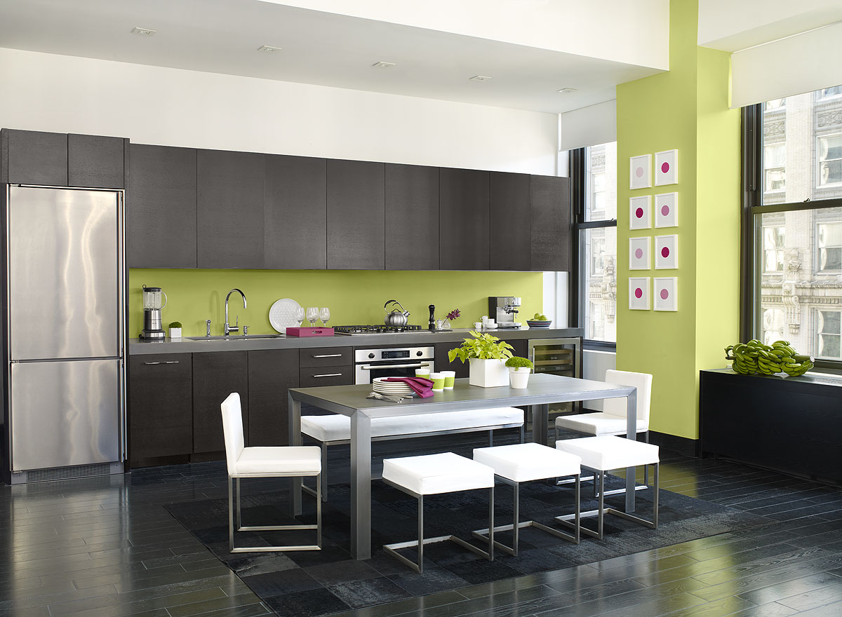 Unique Kitchen Color Ideas Completed with Long Oak Counter facing Grey Dining Table and White Chairs