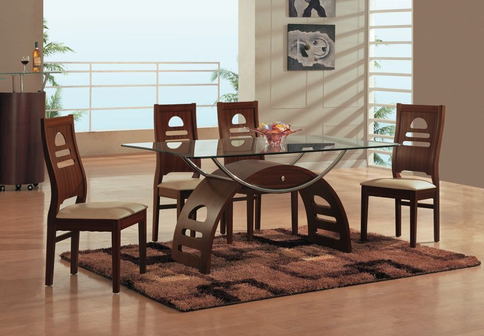 Unique Wooden Chairs and Modern Glass Top Dining Table on Brown Carpet Rug in Open Dining Area