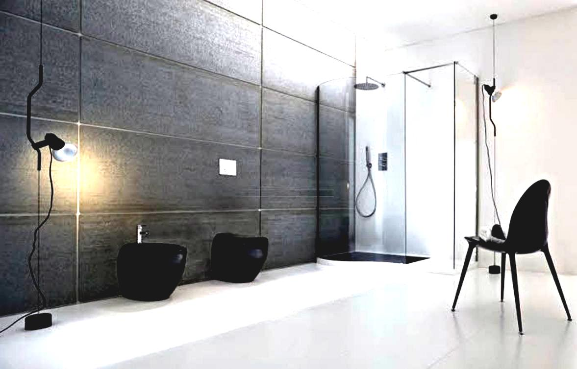 Unusual Bathroom Applying Awesome Home Improvement Ideas with Closed Glass Shower Space and Black Chair