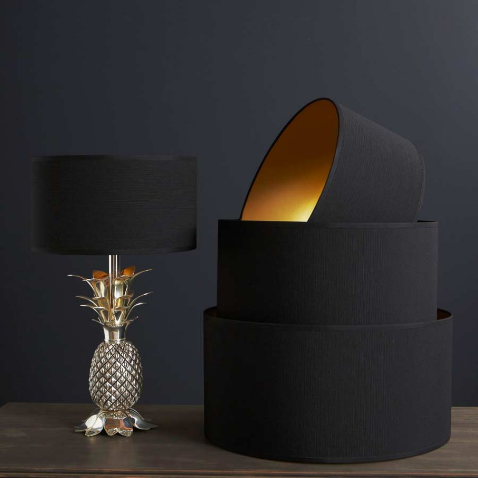Unusual Pinele Shaped Handle And Black Lamp Shades For Interesting Table On Grey