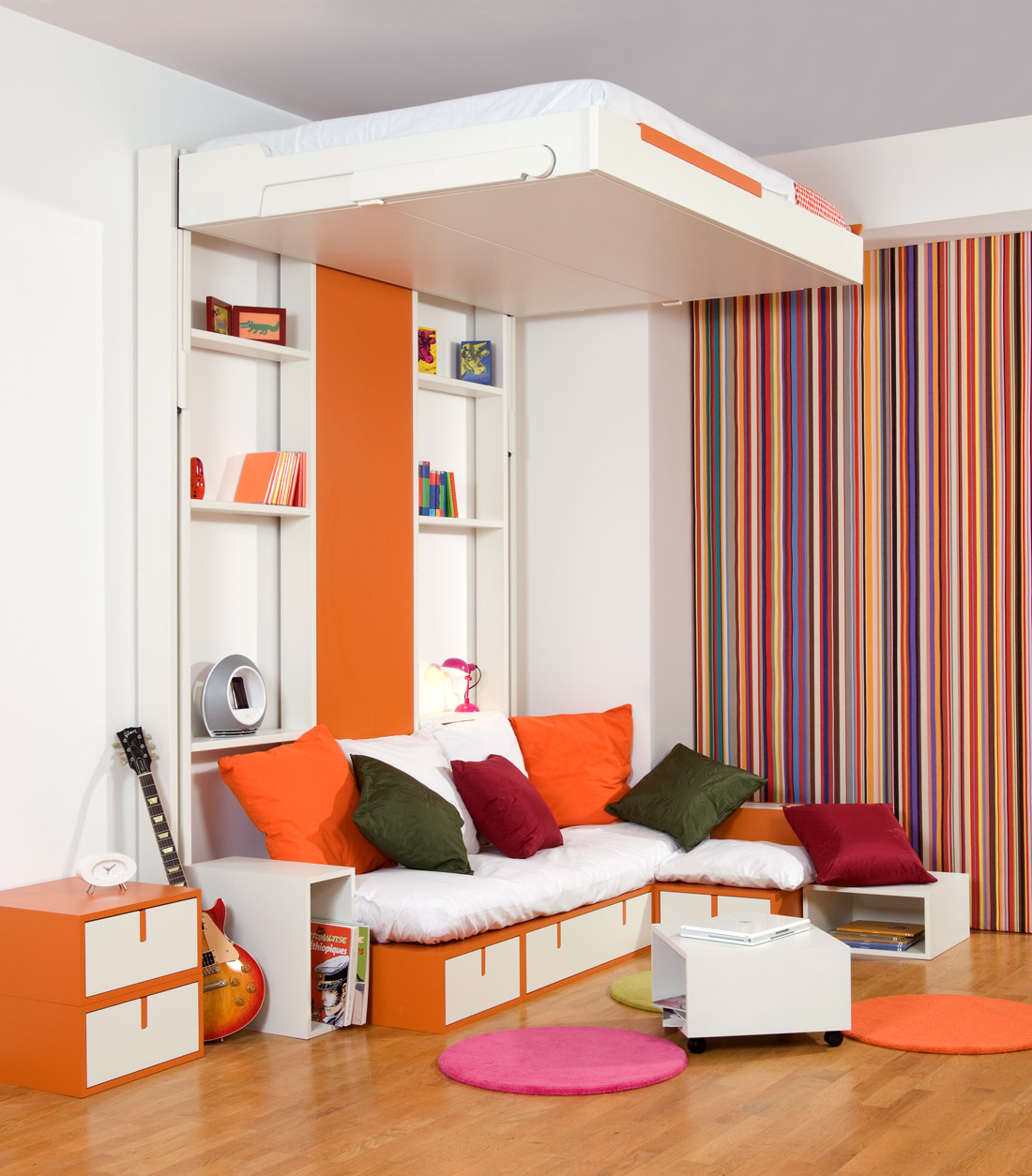 Use Awesome Space Saving Beds inside Fancy Bedroom with Comfy Bench and Small White Tables
