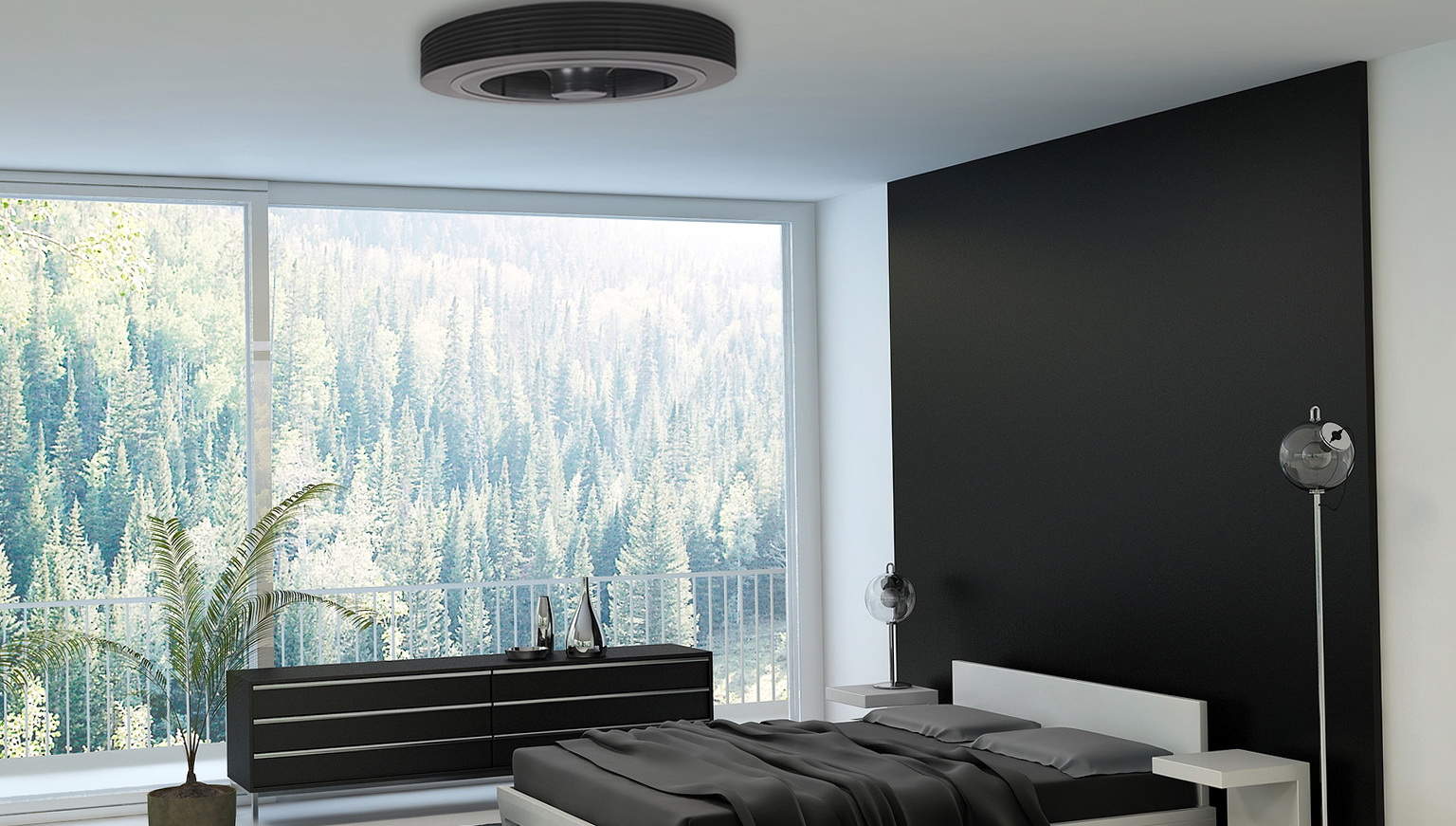 Use Bladeless Ceiling Fan for Modern Bedroom with White Bed and Grey Bedding near Long Dresser