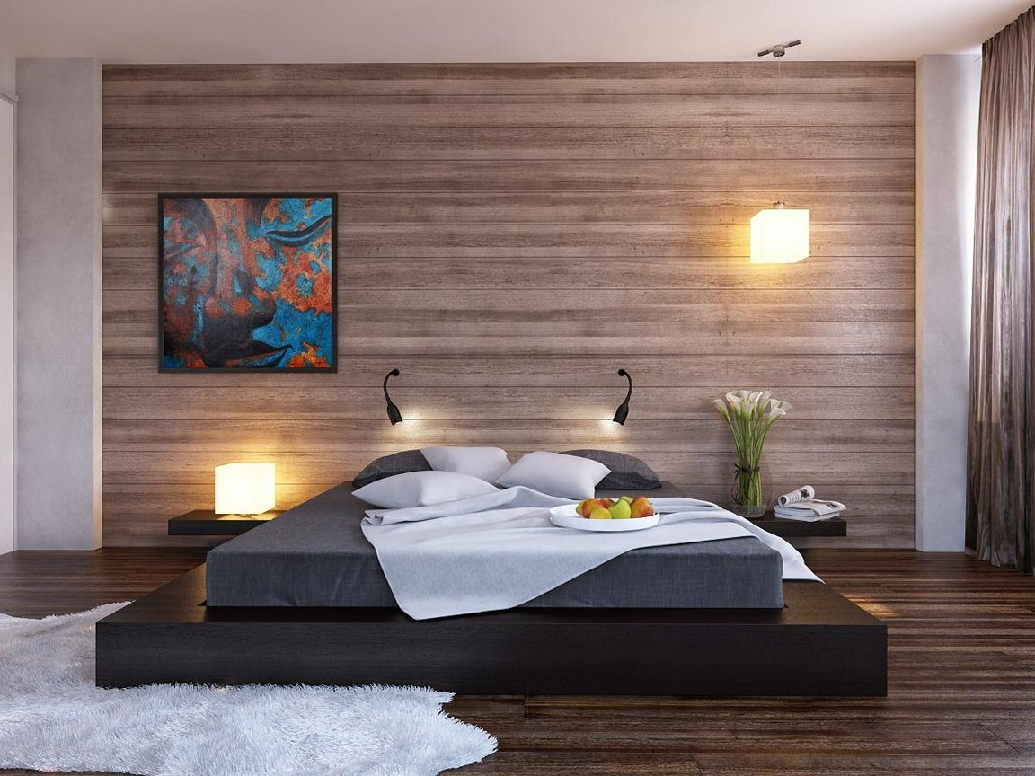 Use Brilliant Accent Wall Ideas on Wooden Wall inside Wide Bedroom with Black Platform Bed
