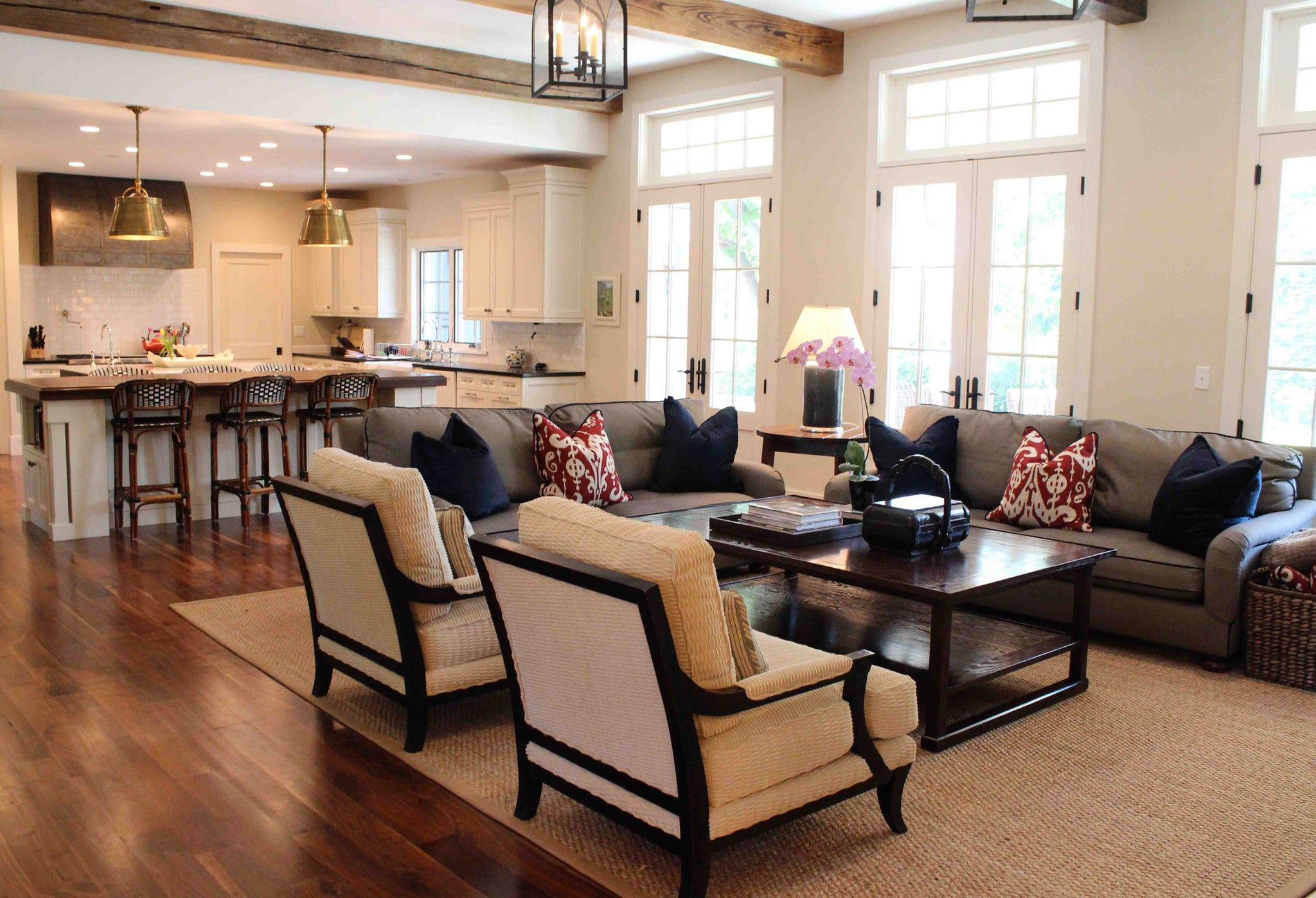 Use Classic Ceiling Lamps for Old Fashioned Living Room Layout with Dark Coffee Table and Grey Sofas