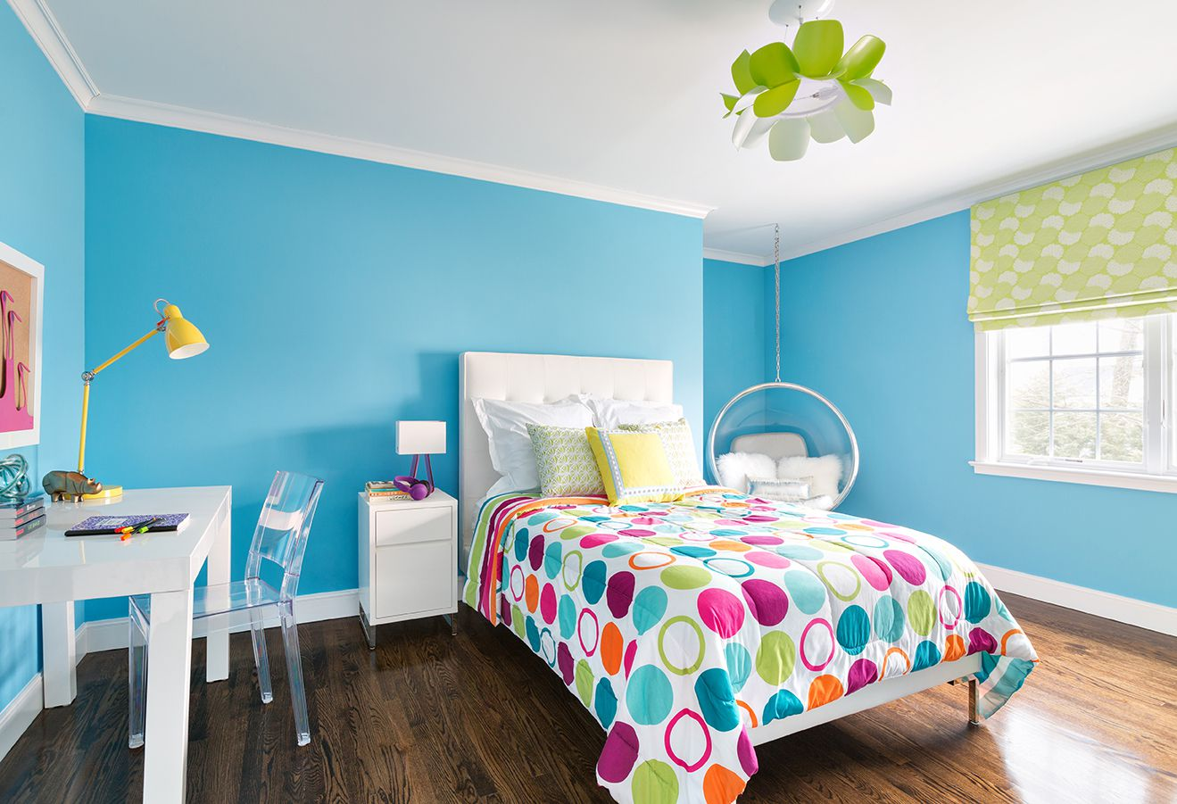 Use Colorful Ducet for White Bed inside Room Ideas for Teens with Acrylic Chair and Hanging bubble Chair