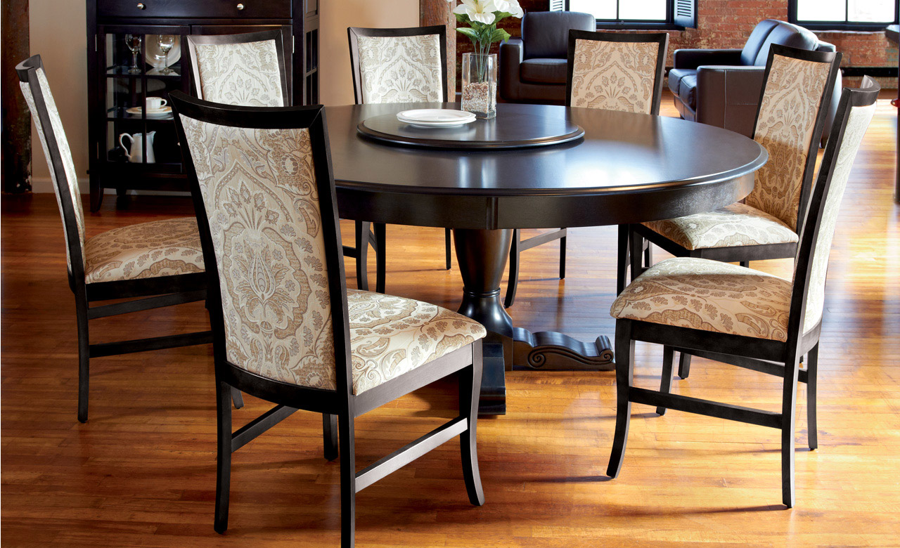 Use Comfy Chairs Aroun Dark Round Dining Table For 6 In Open Dining Room  With Laminate