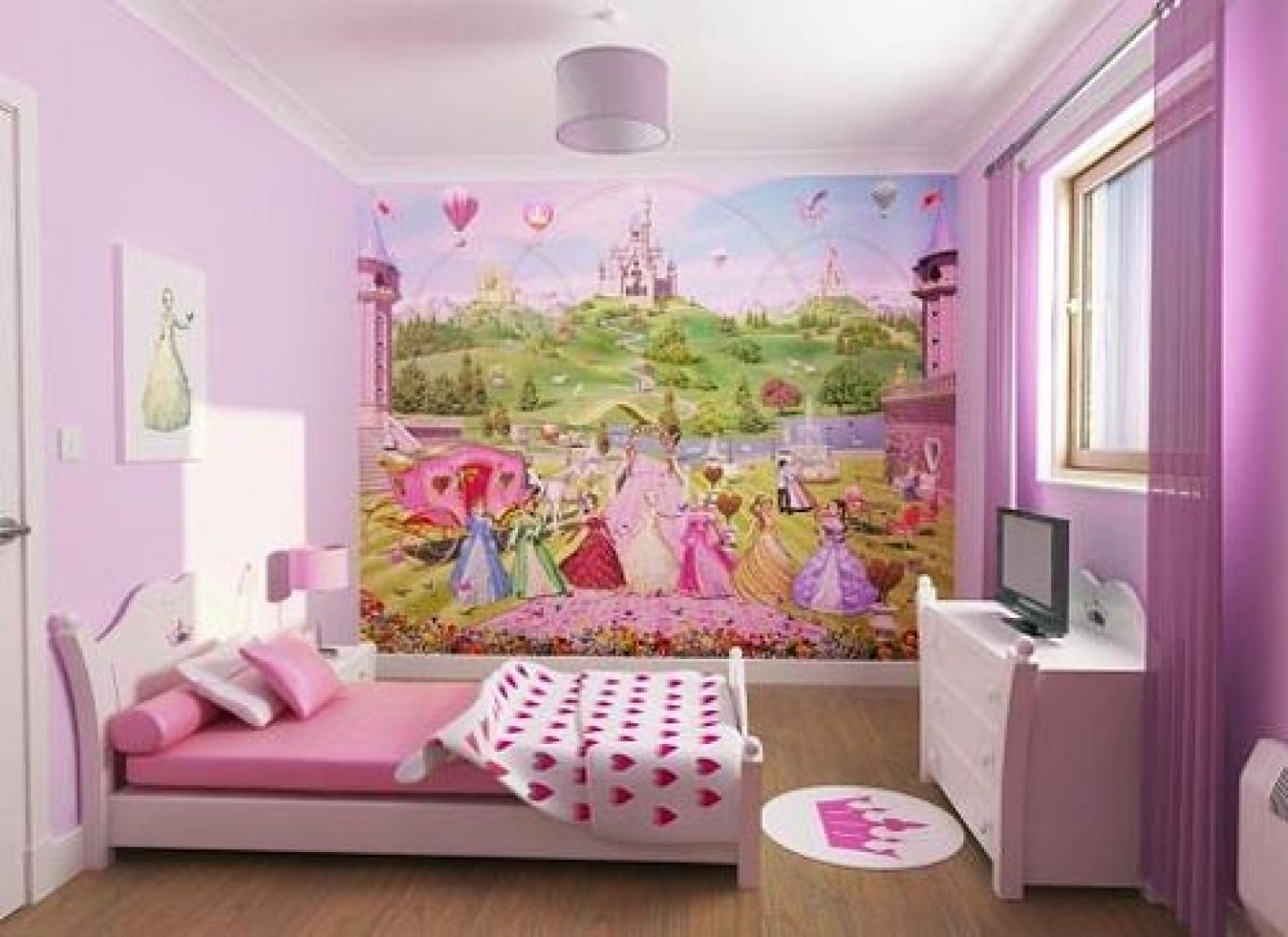 Use Fairytale Wall Decal to Decorate Cute Girls Room Ideas with White Bed and Pink Bedding