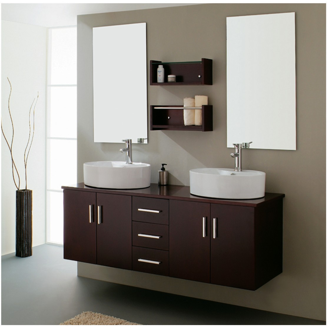 Use Floating Oak Bathroom Sink Cabinets and Round Sink Bowls under Clean Wall Mirrors on Grey Wall