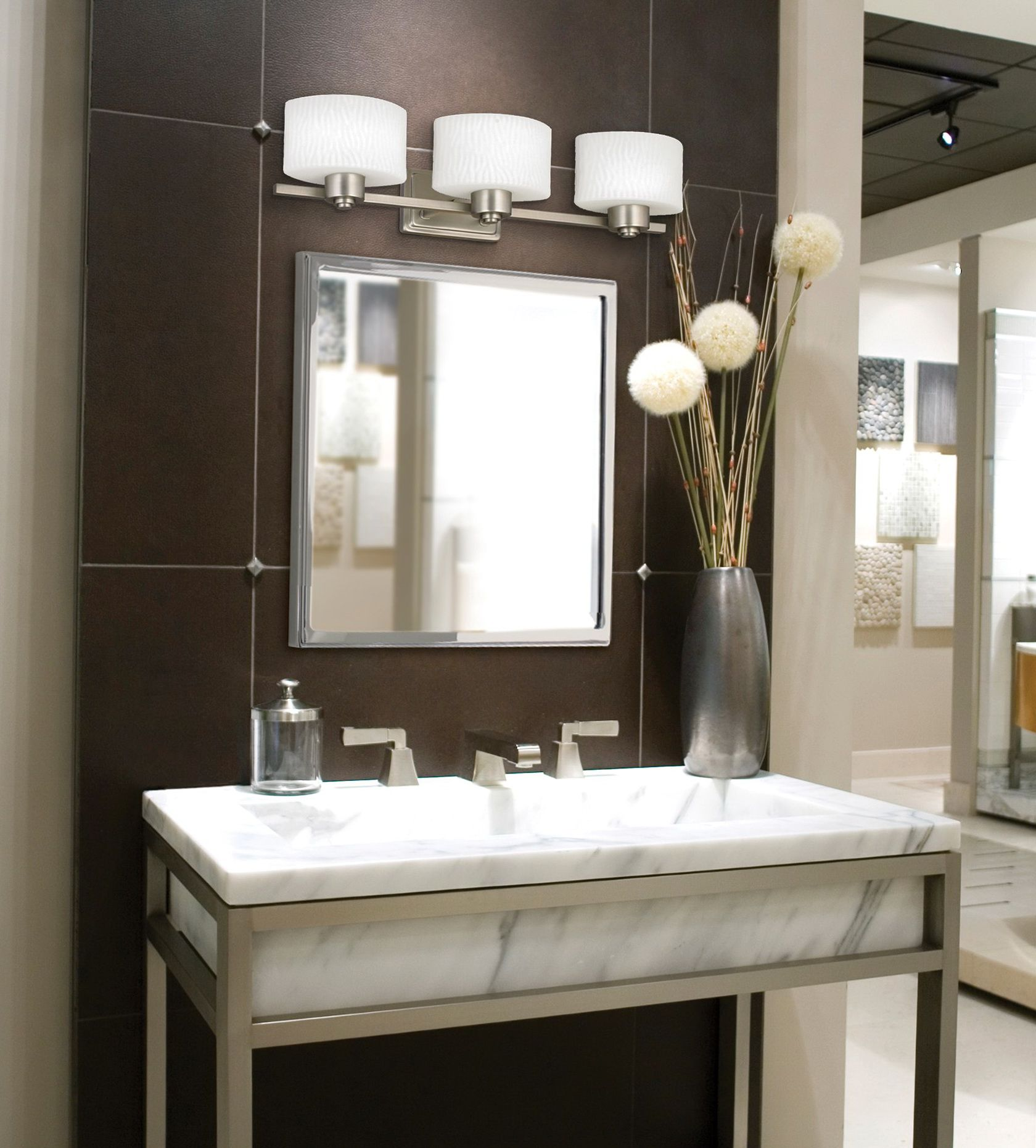 Use Glossy Framed Bathroom Vanity Mirrors for Minimalist Room with Marble Sink and Tile Wall