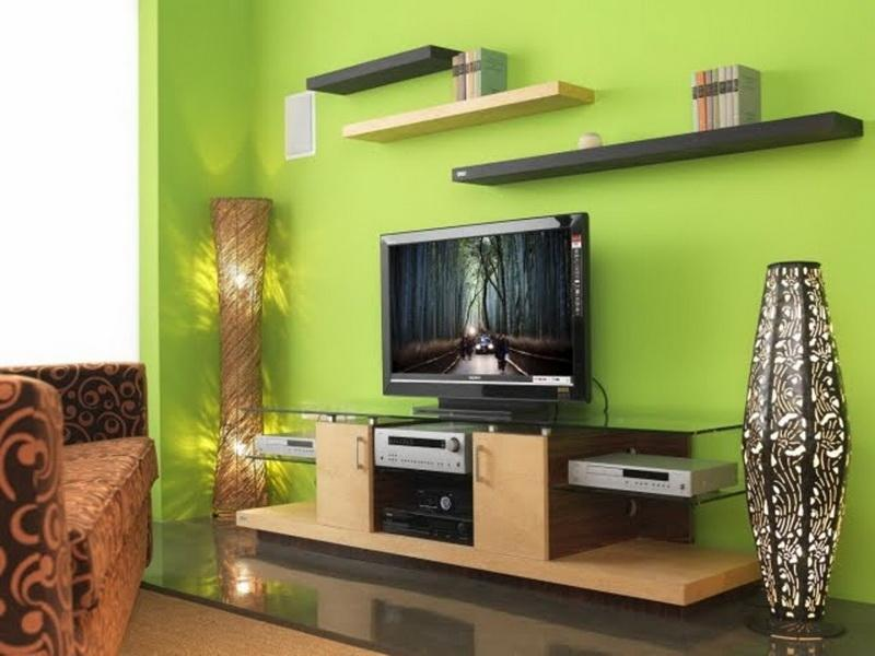 Use Green Living Room Paint Colors For Modern With Glass Top TV Cabinet And Brown