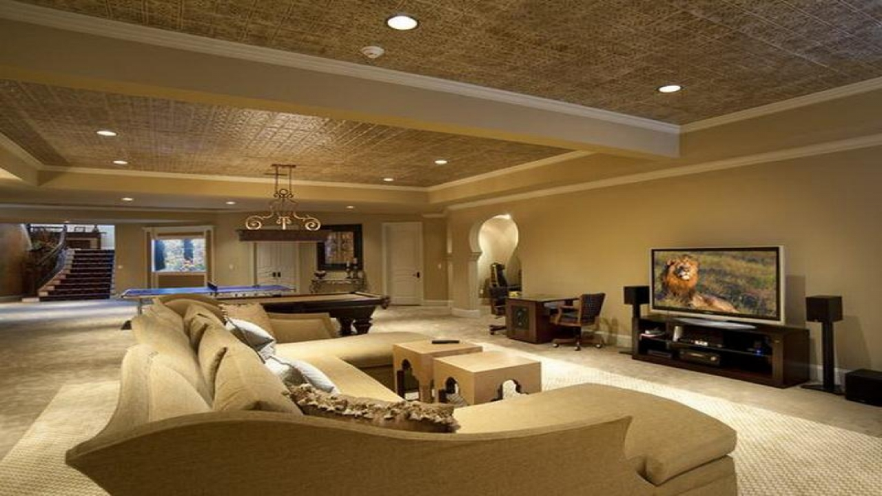 Use Grey Basement Ceiling Ideas for Gorgeous Family and Play Room with Pool Table and Sectional Sofa