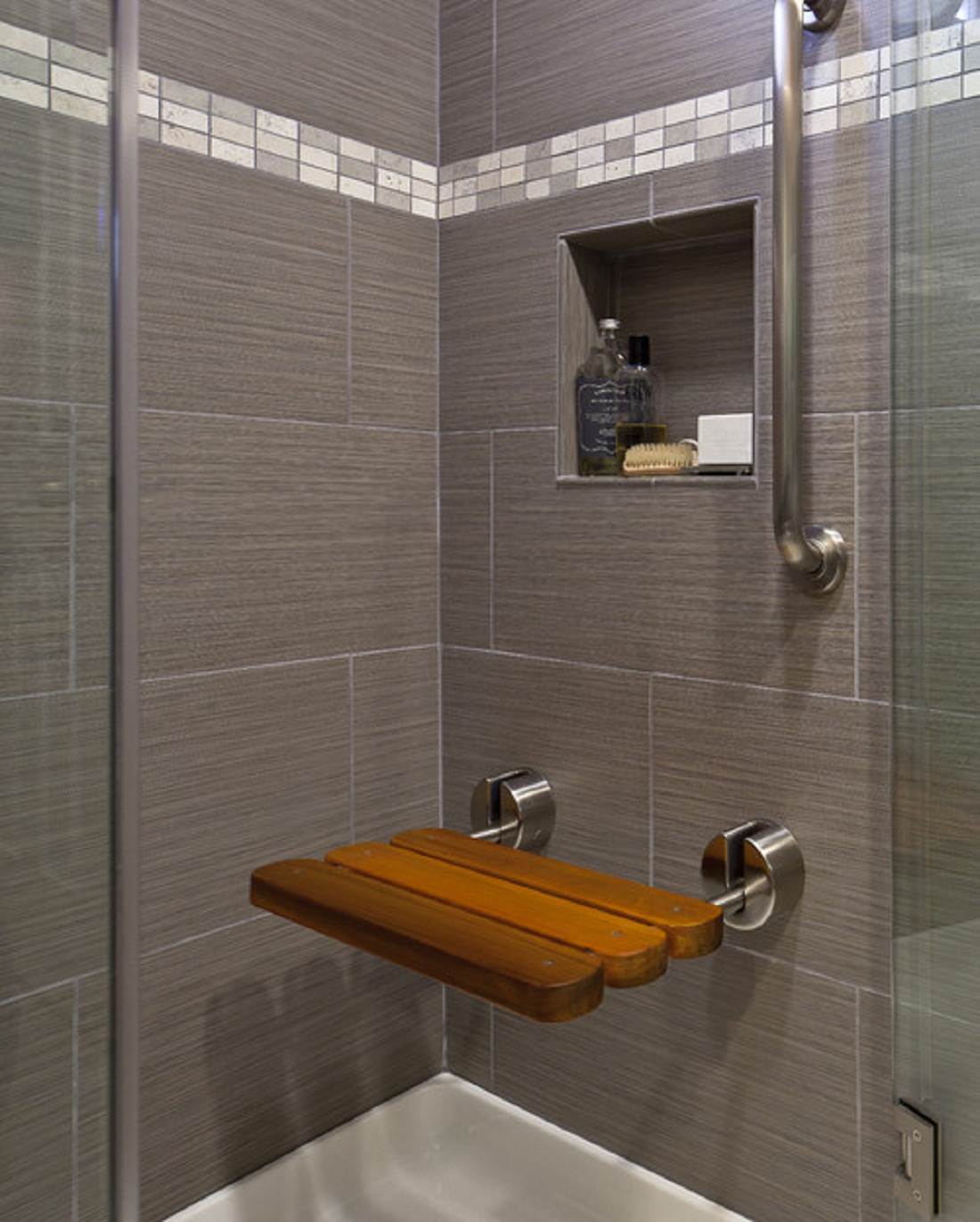 Nice Use Grey Bathroom Wall Tile For Closed Shower Space With Floating Bench And  Glass Door