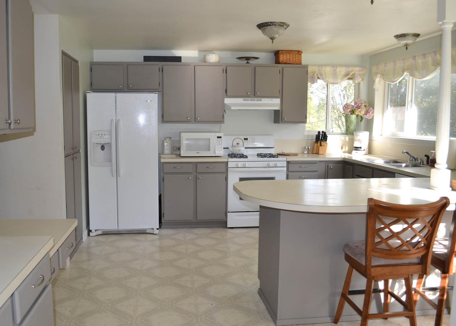 Kitchen Cabinet Makeover Paint Kitchen Cabinets For Getting The New - Grey and white painted kitchen cabinets