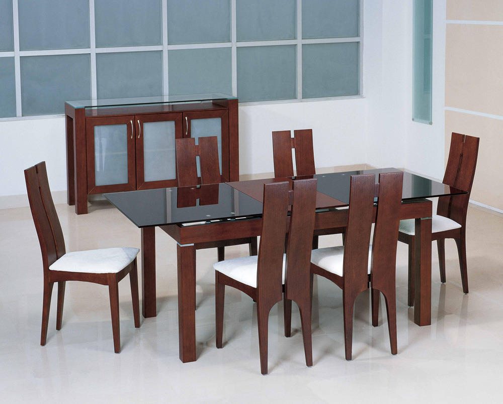 Use Long Glass Top Dining Table and Oak Chairs near Wooden Cabinets on White Flooring