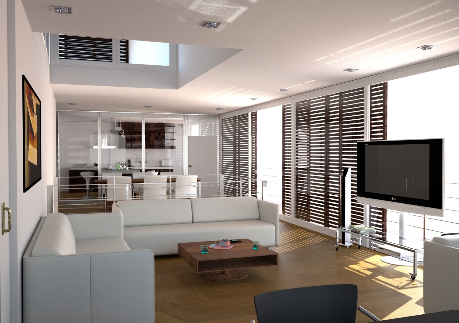 Use Modern Interior Design for Living Room with White Sofas and Stylish Oak Coffee Table on Hardwood Flooring
