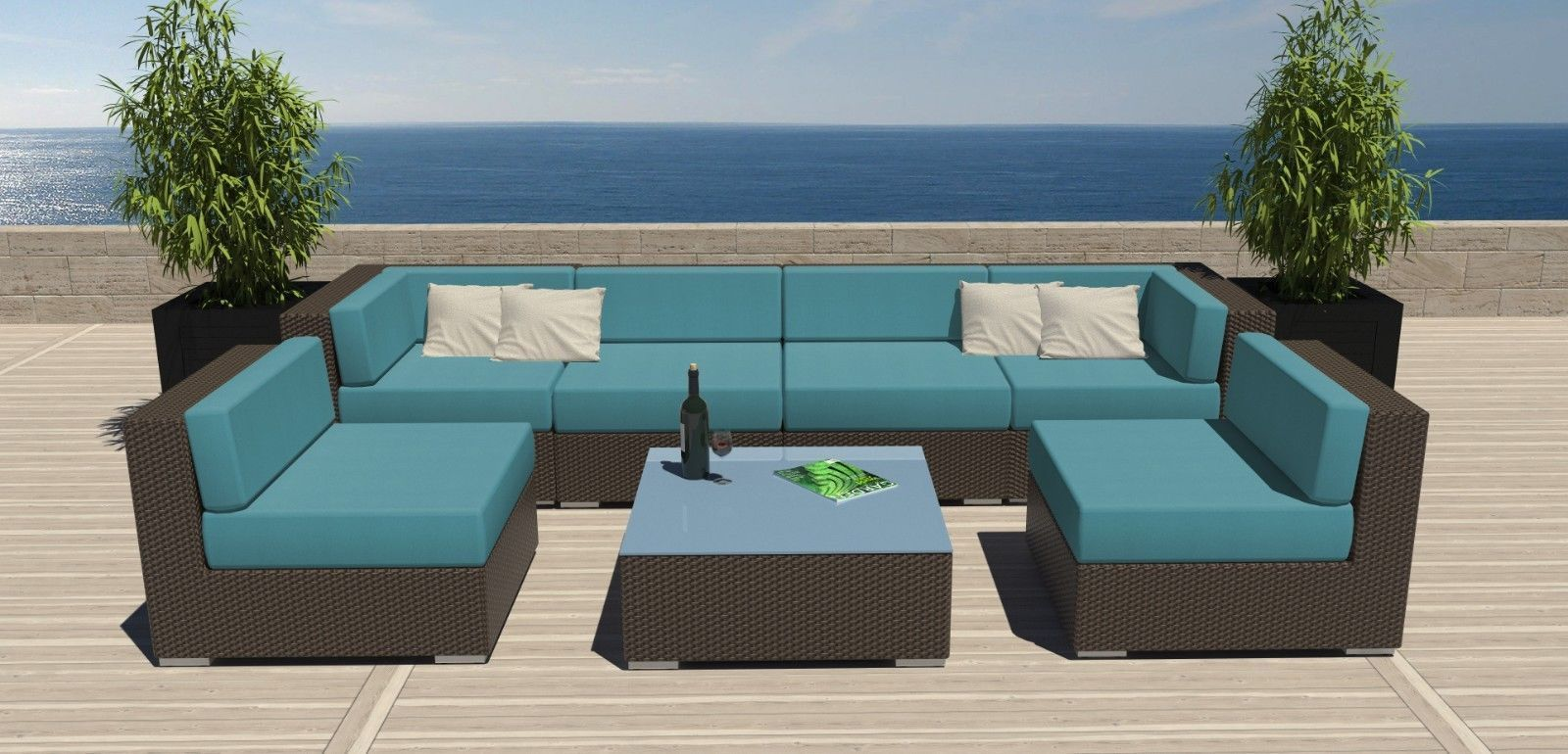 Use Modern Patio Furniture with Blue Lather Seat and Wicker Sofas on Laminate Wooden Deck