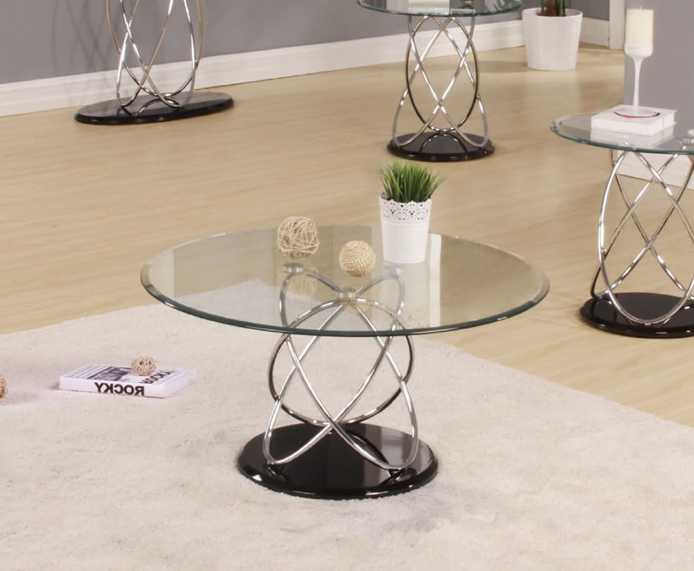Use Modern Round Glass Coffee Table for Stylish Living Room with Wide Carpet and Laminate Flooring