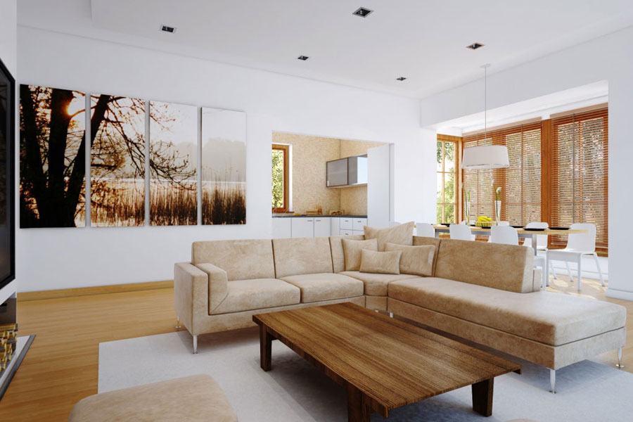 Use Natural Living Room Wall Decor for Minimalist Room with Cream Sectional Sofa and Wooden Coffee Table
