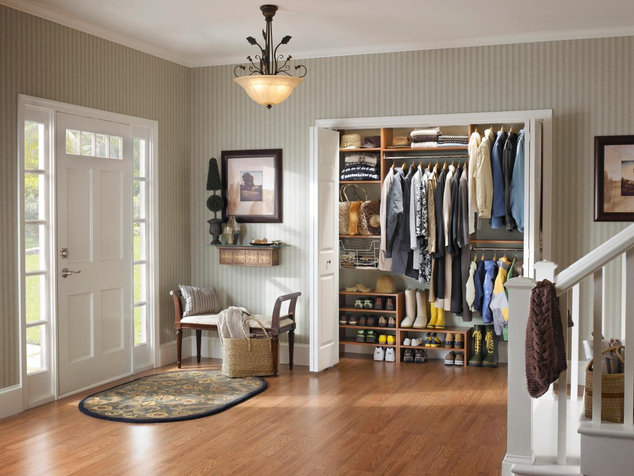 Use Oak Shoes Shelves And Floating Wall Shelves In Small Closet Organizer  Ideas Near Entry Area