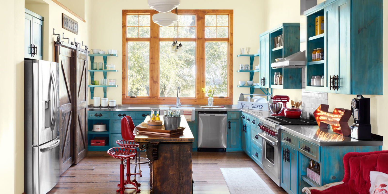 Use Rustic Home Design Ideas for Kitchen with Blue Counter and Oak Island near Unususl Stools