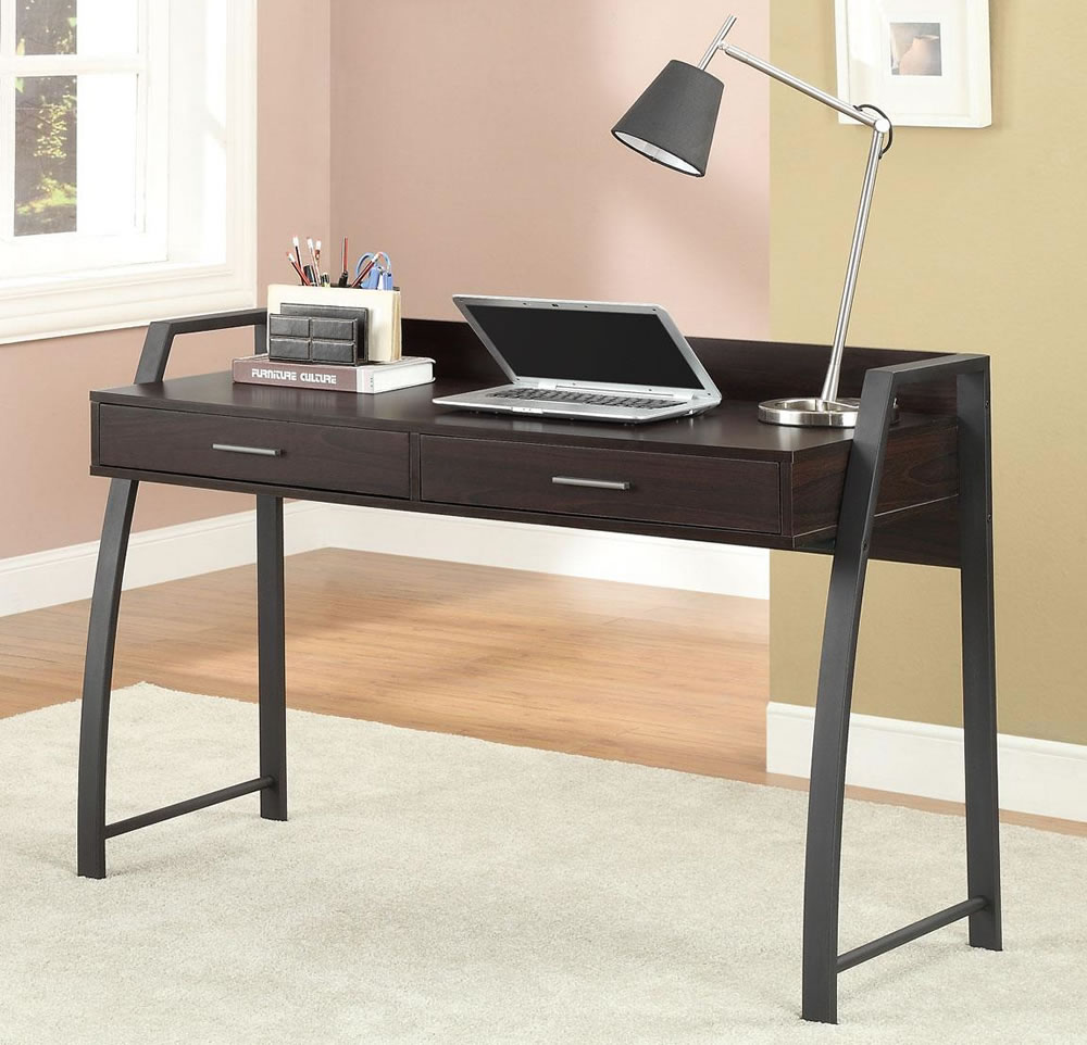 use small writing desk for minimalist home office with stylish table