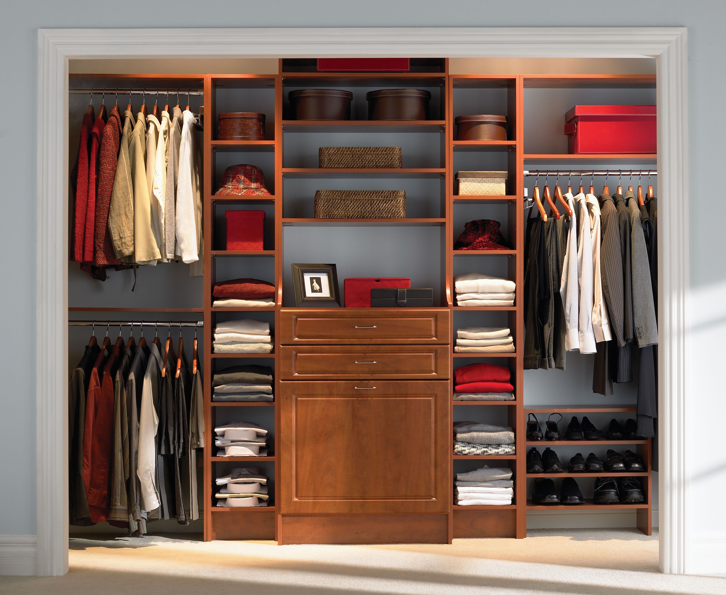 Use Solid Oak Material for Old Fashioned Closet Design Ideas with Brown Drawers and Shelves