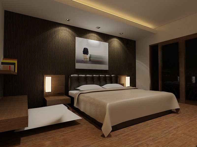 Use Stylish Lighting for Wonderful Bedroom Design Ideas with Wide Bed and Wooden Table on Laminate Flooring