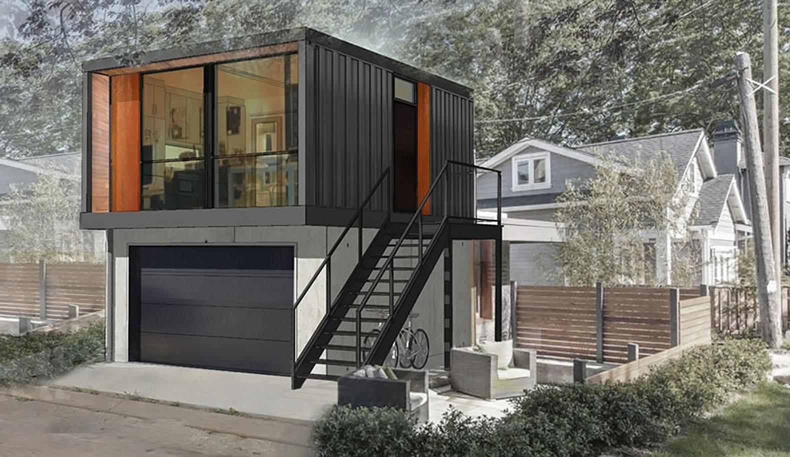 Use Unusual Small Prefab Homes Design from Used Container above Black Garage Door