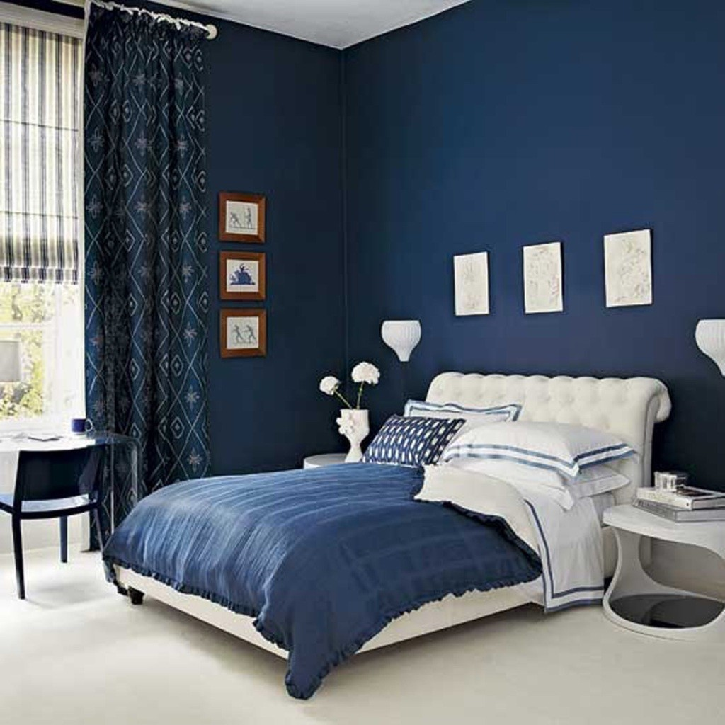 Use White Bed and Blue Bedding in Fascinating Room using Dark Blue Bedroom Color Ideas
